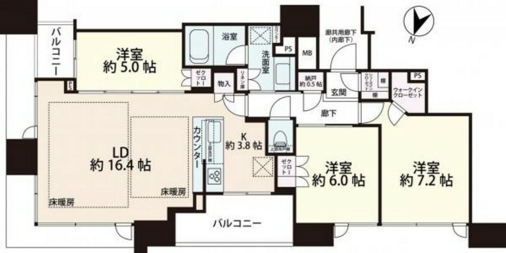 間取り図 間取図。 北東部屋で風通しも良く、開放感あふれるお部屋です。