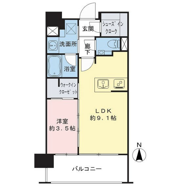 間取り図 1LDK、専有面積34.45m2、バルコニー面積7.28m2