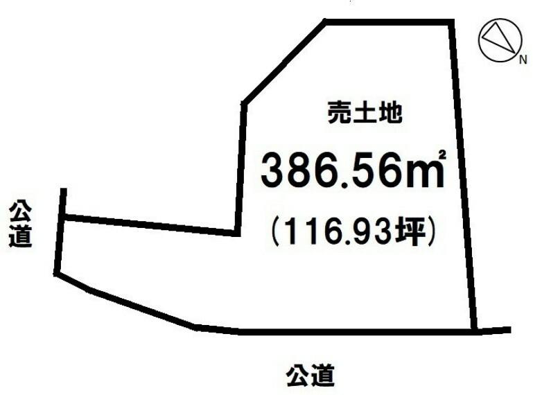 土地図面 区画図 386.56平方メートル 水と緑豊かな住環境