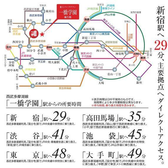 【交通アクセス図】 最寄り駅の西武多摩湖線「一橋学園駅」まで徒歩10分、新宿駅まで29分でアクセス可能!都心への通勤や通学、お出かけにも便利な立地です。