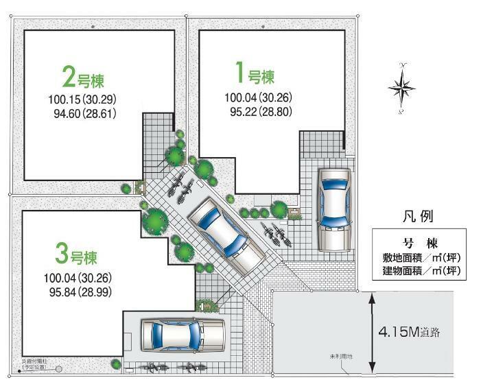 区画図 【全体区画図】 西武多摩湖線「一橋学園」駅 徒歩11分の立地です。それぞれ1台分の駐車スペースを備えており、ご家族揃って週末のお出かけもお楽しみいただけます。