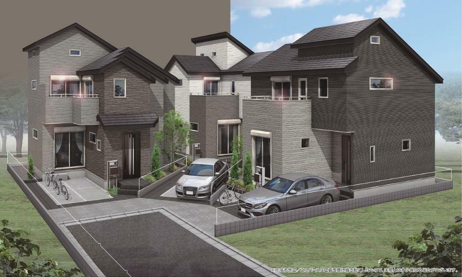 完成予想図(外観) 【兼六パークタウン一橋学園第5期】 それぞれのライフスタイルにマッチする多様性ある3邸の住まいが誕生。ワークスペースや豊富な収納スペースを設けた3LDKの間取りです。【完成予想図】