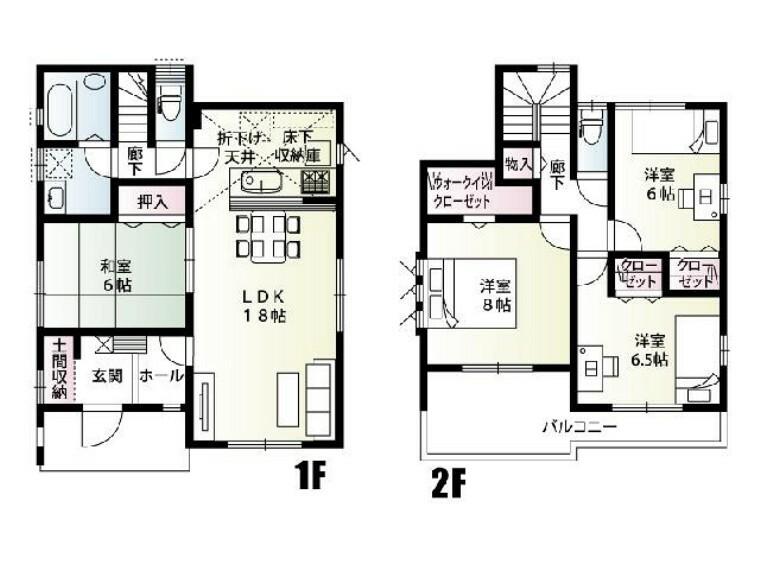 間取り図 B号棟 間取り図・・・各部屋に収納スペースがあります。バルコニーがつながっているので、布団を干しやすく取り込みやすいです。