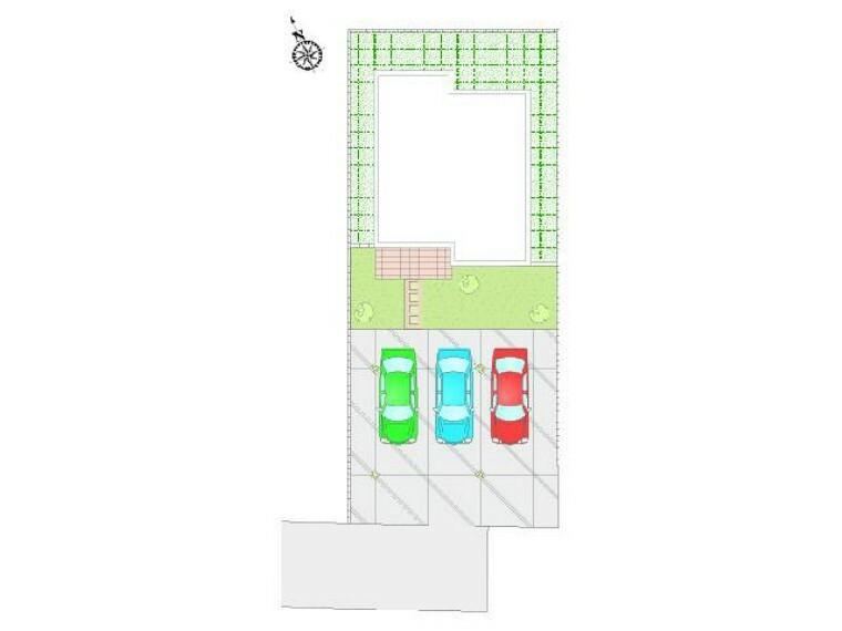 区画図 B号棟 配置図・・・駐車場は合計3台が停められるスペースがあります!日当たりも問題はなさそうですね!