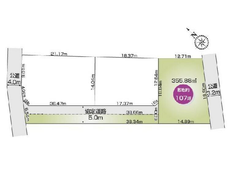 区画図 C区画 区画図・・・355.88平米 107.65坪です。