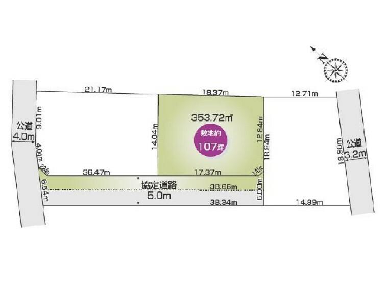 区画図 B区画 区画図・・・357.72平米 107坪です。
