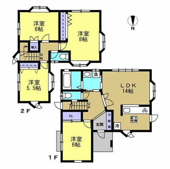 間取り図 【リフォーム中】1階和室は洋室に変更を行う予定です。4LDKカーポート2台駐車可能な住宅です。1階には客間としてもお使いいただける和室が一部屋ございます。2階には主寝室やお子様のお部屋としてもお使いいただける洋室が3部屋ございます。