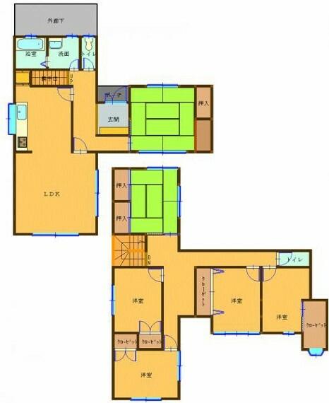 間取り図 リフォーム工事後の間取り図です。部屋数が多いので家族が多いご家族でも安心です。水回り全て新品交換をおこないます。2階にもトイレがございますのでとても便利です。