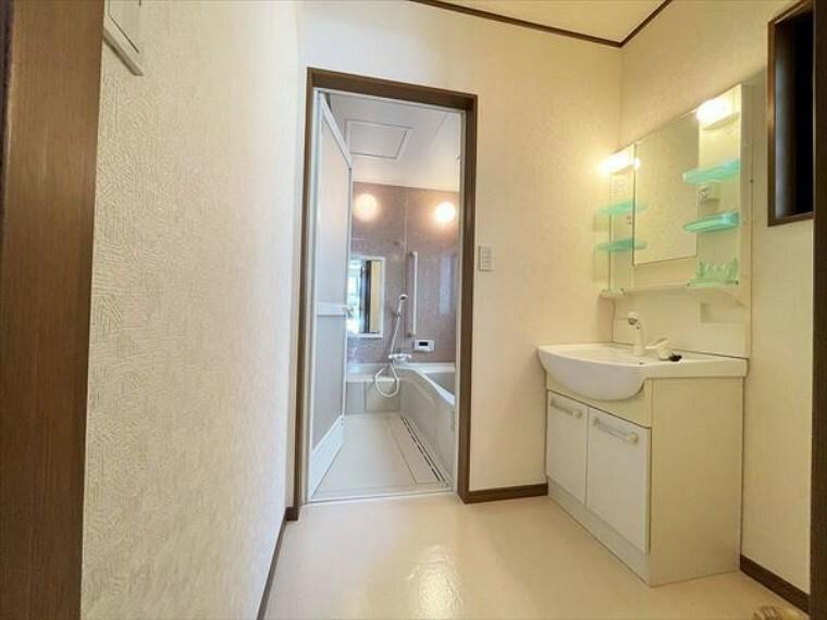 洗面化粧台 ワイドなボウルにハンドシャワー水栓が付いた洗面化粧台。