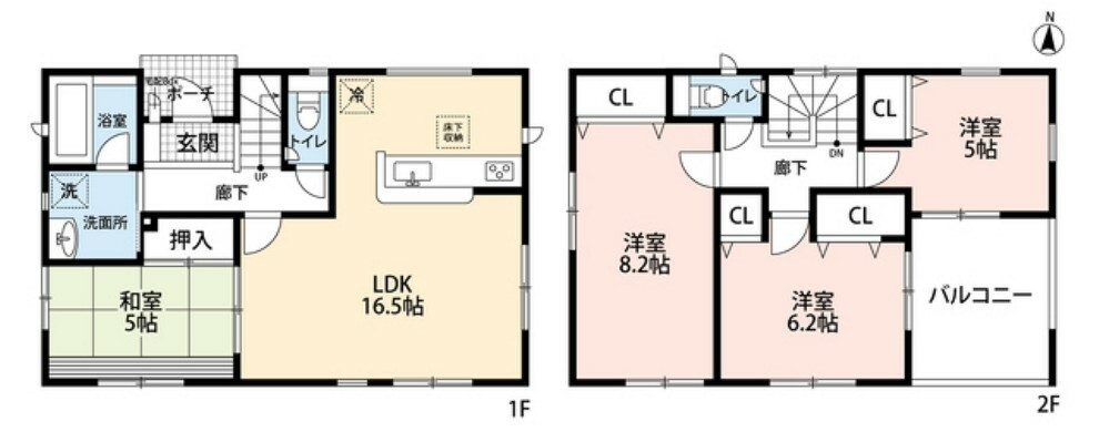 間取り図 4LDK、全居室収納付きでゆとりのある暮らしが実現。2階は洋室が3部屋あるので、お子様が大きくなっても安心ですね^^