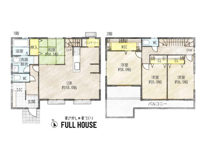 間取り図 間取りはこちらです。LDKは18帖あります!広く、ゆったりとお使いいただけます。他にも洋室が3室、和室が1室あります。全室に収納スペースあり!リビングにはパントリーもあります。
