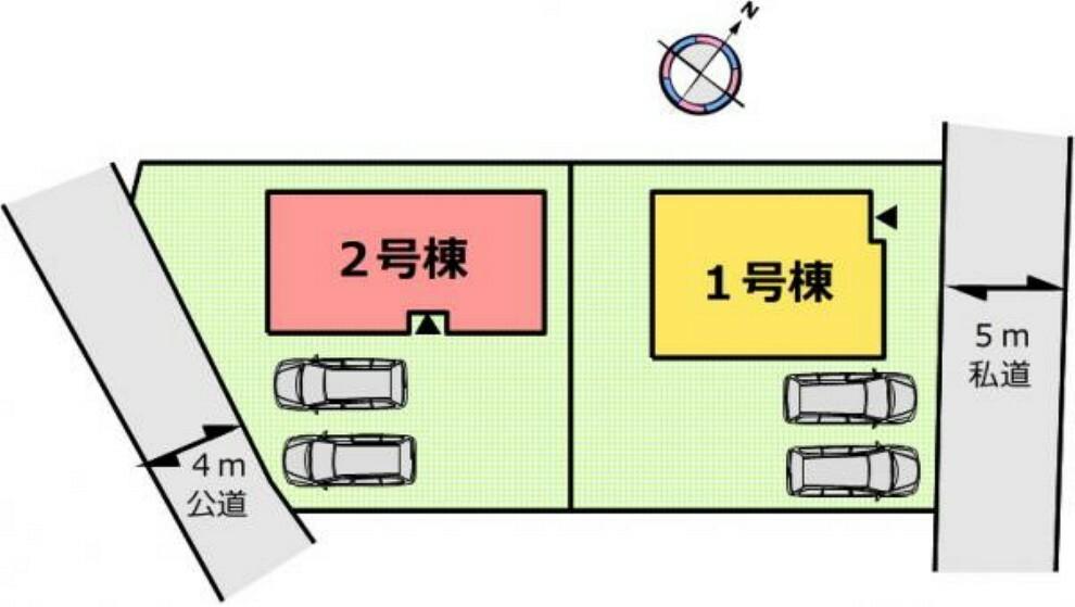 区画図 (区画図)駐車スペース2台分有り!共働きで車をお使いでも快適!