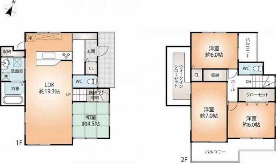 間取り図 全居室収納に加えて、主寝室には大き目のウォークインクローゼットも備えたゆとりの4LDKの建物間取り図。