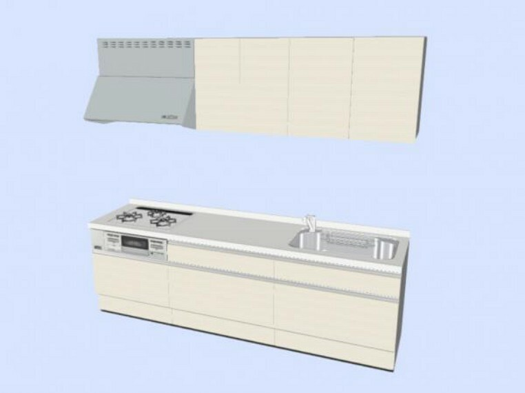 キッチン 【同仕様写真】キッチンはハウステック製の新品に交換します。引出が4つの嬉しい多収納タイプ。天板は熱や傷にも強い人工大理石仕様なので、毎日のお手入れが簡単です。