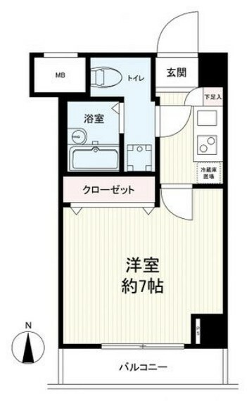 間取り図 玄関を入り下駄箱、キッチンがあります。キッチン横には冷蔵庫スペースが確保されています。また室内に洗濯機置き場も完備。約7帖の居室にはクローゼット付です。