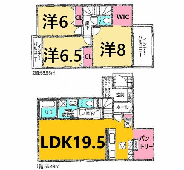 間取り図 土地面積:120.72平米、建物面積:109.32平米、3LDK