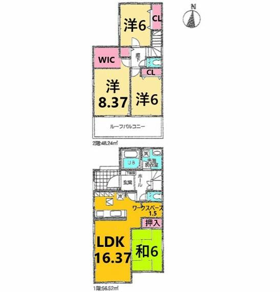 間取り図 土地面積:156.74平米、建物面積:104.76平米、3LDK