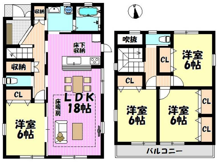 間取り図 4LDK リビング18帖  全室6帖 収納スペース豊富です
