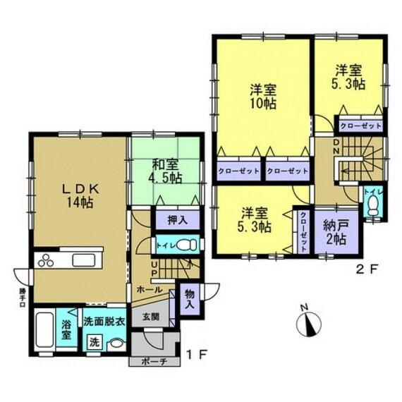 間取り図 4SLDKの2階建てです。収納スペースがたくさんあるので、いつでもお家の中をスッキリ保てますね。