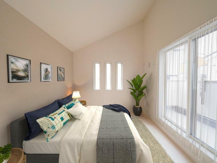 完成予想図(内観) 朝もスッキリ目覚められる明るく心地よい洋室はバルコニーと連なり開放的です!【施工例】