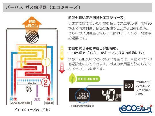 土地図面 洗顔やお皿を洗うときもエコ出湯で32℃をキープ。 ガスの使用量も節約してくれます。 給湯や追い炊きもエコジョーズ対応です。