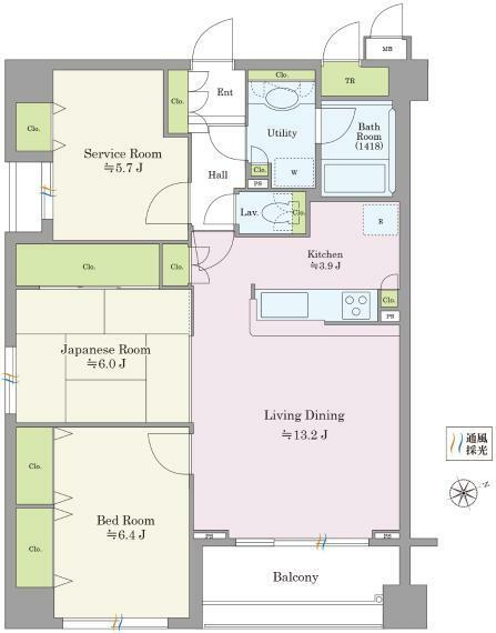 間取り図 80.14平米のゆとりの収納付き3LDKです。LDKは17帖超。和室付きで独立した居室やセカンドリビングとしても使える便利な間取りです。
