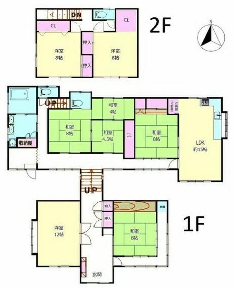 間取り図 敷地面積523.34平米、建物面積226.55平米の庭園付き大型8LDK