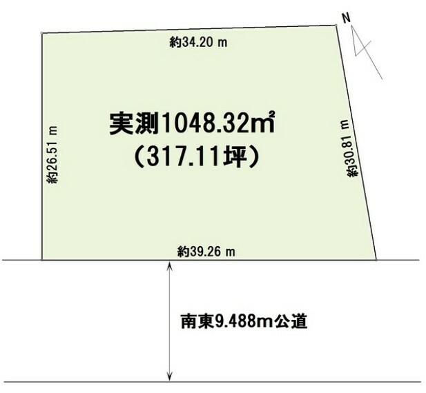 土地図面 建築条件なし売地。国道356線沿いの300坪超の広い敷地です。