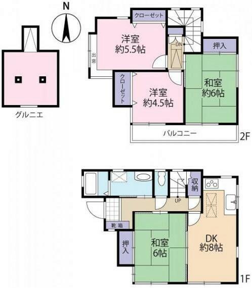 間取り図 4DKの部屋数が多いタイプの間取りです。ご家族が多い方も使い勝手良くお住まいいただけます。