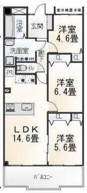 間取り図 3LDKリノベーション済み。対面キッチンで家族とのコミュニケーションも充実。
