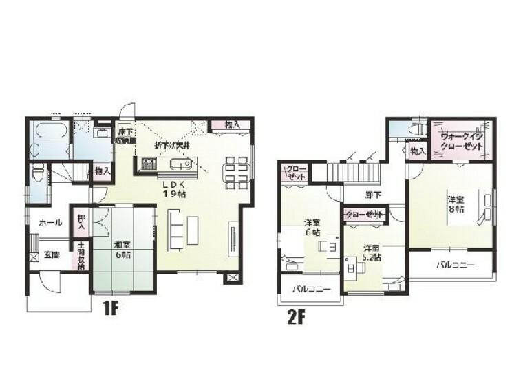 間取り図 A号棟:間取り図・・・水回りが一か所にまとまった家事動線の良い間取りになっています。
