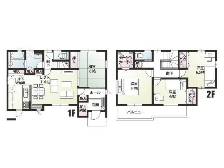 間取り図 B号棟:間取り図・・・土間収納・パントリー・ウォークインクローゼットのある間取りです。2階に上がる際にはリビングを通るので家族の「ただいま」や「行ってきます」の顔がみえます!