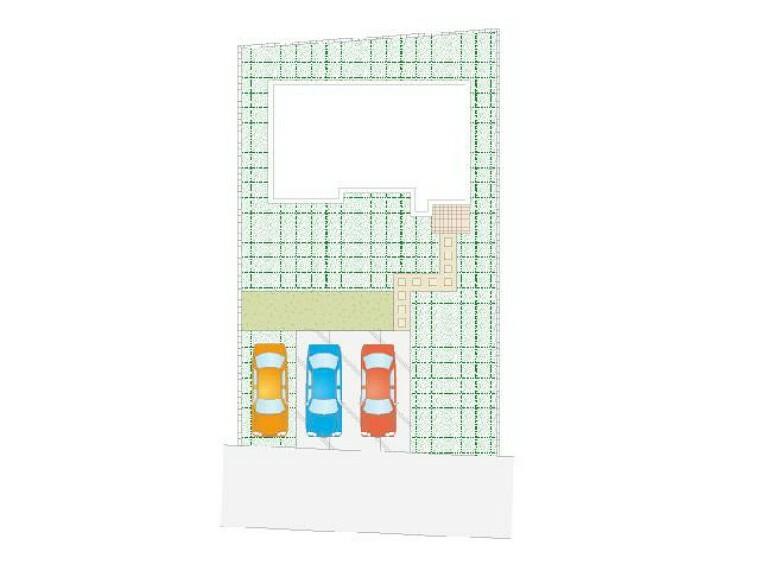 区画図 B号棟:区画図・・・並列3台駐車可能です!
