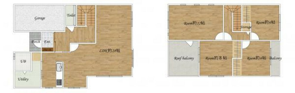 間取り図 [リフォーム後間取図]リフォーム後の間取図になります。約28帖のリビングに2階には4部屋ございます。各居室6帖以上あるので使い勝手が良いですね。