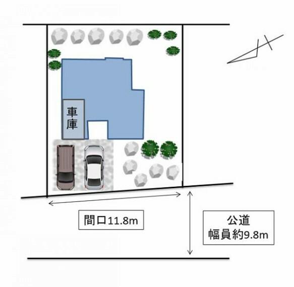 区画図 [敷地配置図]リフォーム後の駐車拡張工事の内容を記載しております。車庫に加えて前面に駐車2台できるような企画を考えております。