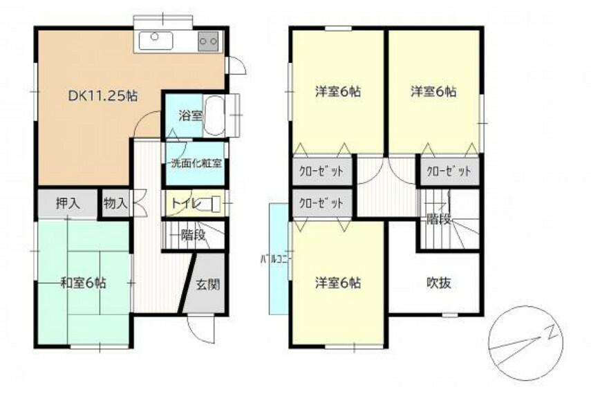 間取り図 【リフォーム中】間取図 変更後の予定間取図です。 各居室、キッチン、階段に火災警報器を設置します。水廻りも全て新品交換しますので気持ちよく生活していただけます。