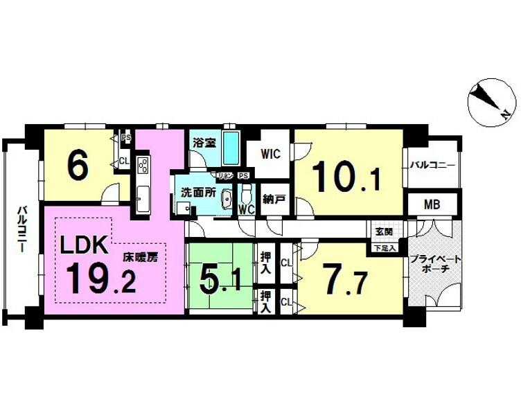 間取り図 4LDK+納戸付きで広々とした間取りです。