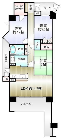 間取り図 3LDK 専有面積77.92平米 バルコニー21.01平米