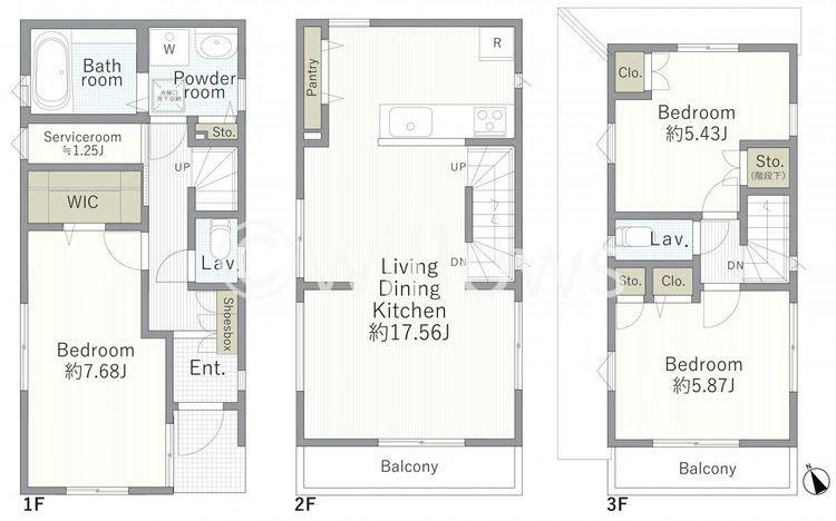 間取り図 3LDK+S。ご家族やご夫婦、幅広い方に使いやすい間取りになっております。各部屋収納付きのため、室内をすっきりご利用可能です。2階、3階にバルコニーがございますのでお洗濯物を干すのも楽々ですね。