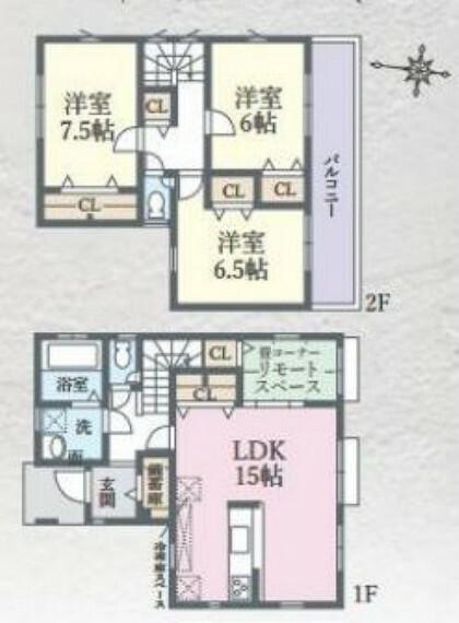 間取り図 間取りは3LDK、約15帖のLDKに隣接する畳コーナーがあります。