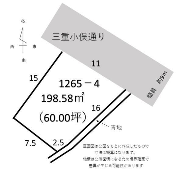 区画図 土地面積60坪 四角い土地で使いやすそうです!