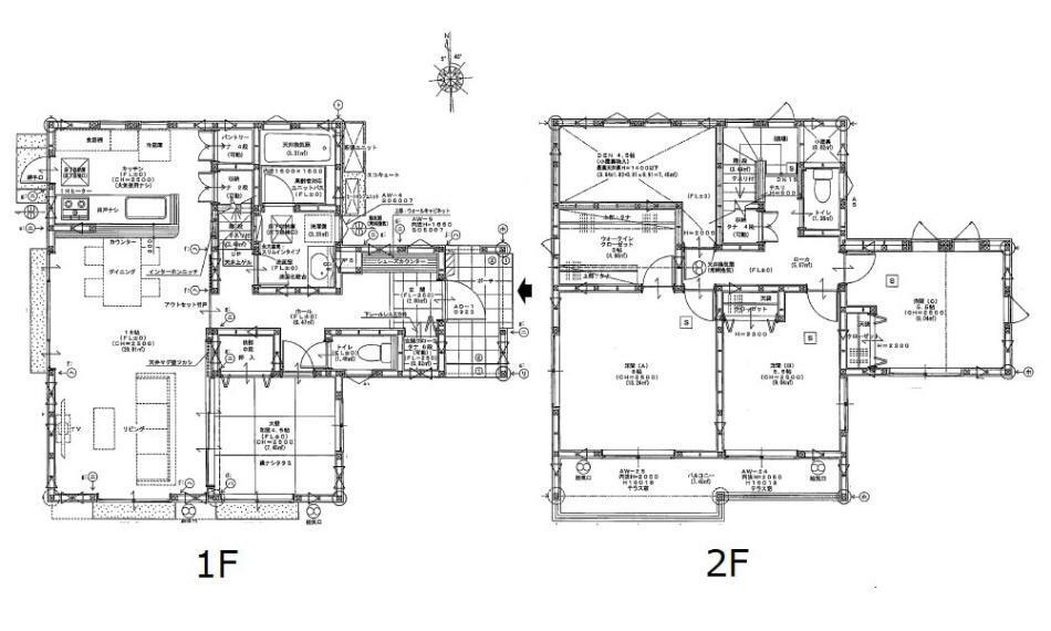 間取り図 2730万円、4LDK、土地面積197.11m2、建物面積106.4m2