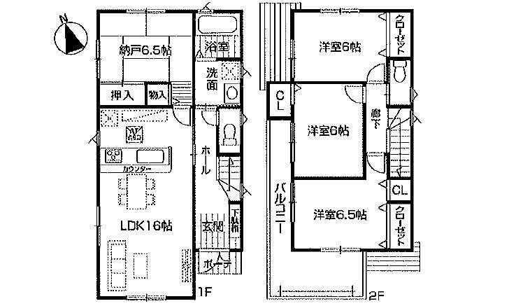 間取り図 3250万円、3LDK+S(納戸)、土地面積114.91m2、建物面積96.79m2 楽々園電停徒歩19分