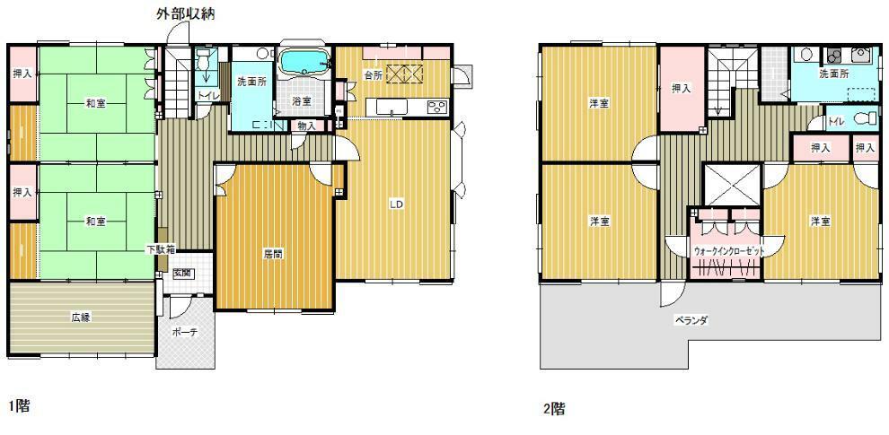 間取り図 ゆとりのある居室と、収納も充実しています!2階にもキッチンがあり、プライベートも充実しそうです(*^^*)