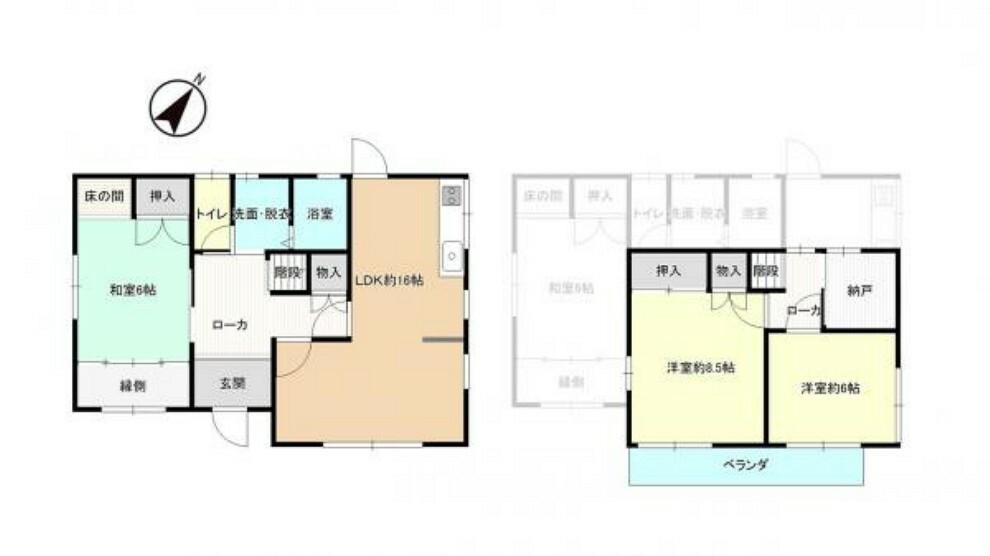 間取り図 間取りは4SLDKの二階建てです。納戸つきなので収納スペースもばっちり。家財道具が多い方でもお部屋を広くお使いいただけるお家です。