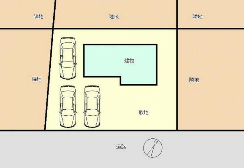 区画図 区画図です。これから拡張工事を行い、縦列2台+並列1台の計3台に拡張予定です。