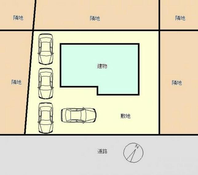 区画図 区画図です。駐車場拡張工事を行い、縦列3台+横づけ1台の計4台停められるようにしました。