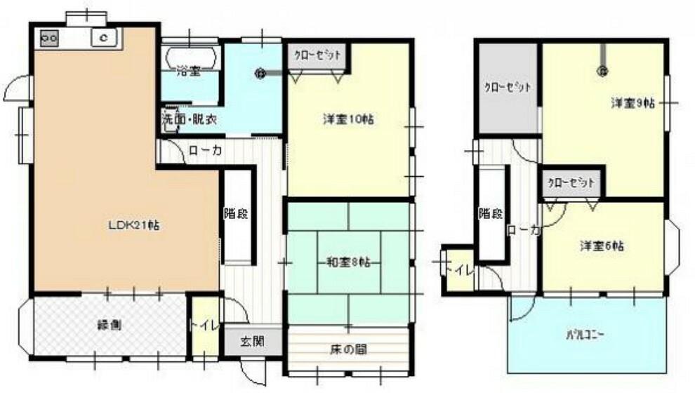 間取り図 【リフォーム済】4SLDKで広々としたリビングが特徴的な明るいお家です。一部間取り変更して生活しやすく仕上げました。部屋数もあるので、ご家族様それぞれの個室も確保できます。