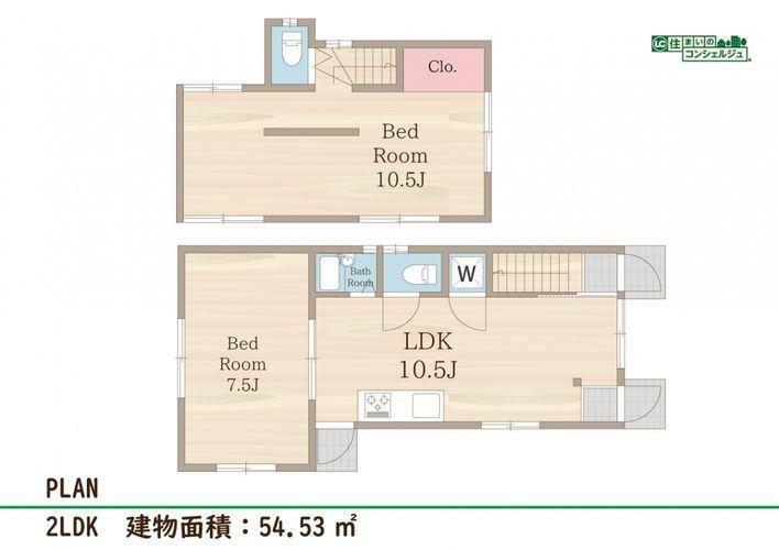 間取り図 《間取図》2LDK 建物面積:54.53m2※再建築不可物件です。