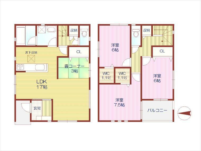 間取り図 2号地:敷地面積約31.75坪、3LDK+畳コーナー!LDKとタタミコーナー合わせて約20帖の大空間!広々ルーフバルコニー!WIC2か所有り!